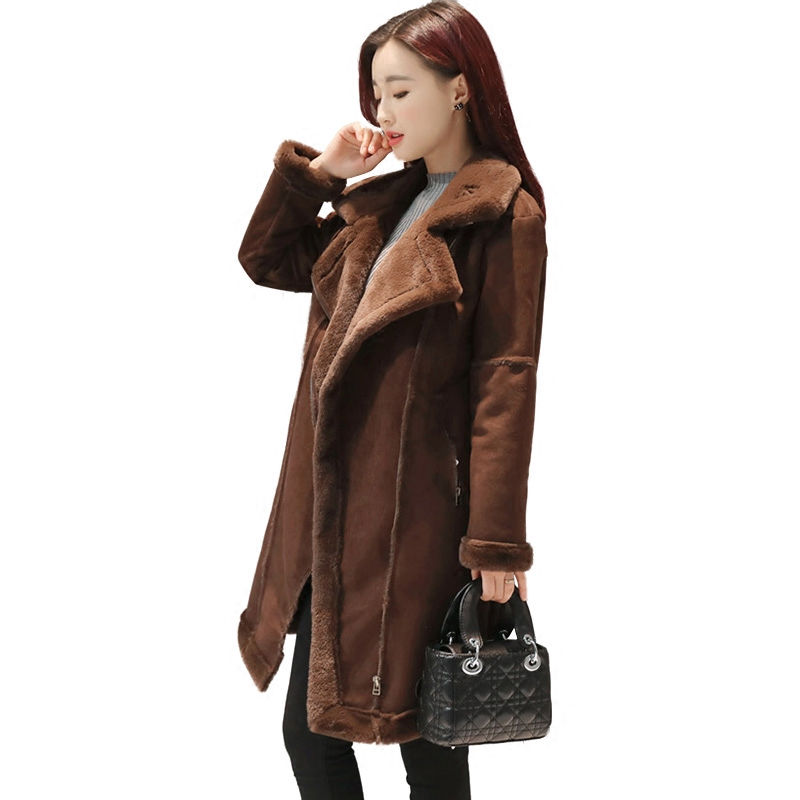 2019 Winter Warm Coats For Women Long Section Thick   Suede   Stitching Woolen Coat Female Fashion Popular Cozy Wild Outerwear C3627