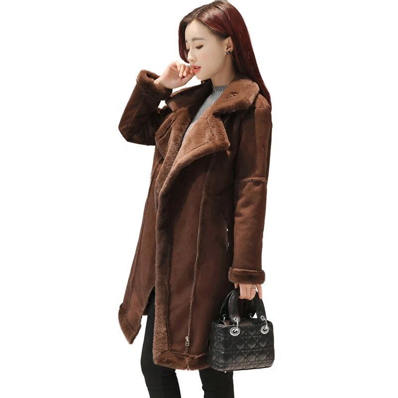€49.81 6% de réduction|2019 hiver chaud manteaux pour femmes longue Section épais daim couture laine manteau femme mode populaire confortable sauvage