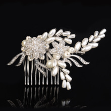 Bridal Pearl Flower Hair Comb Clear Rhinestone Crystal Hairpin Hair Jewelry Wedding Accessories Noiva Hair Decoration Headpieces