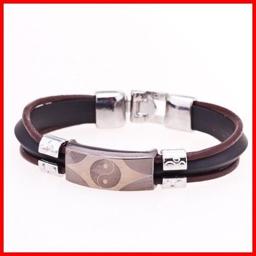 99317ae69a40 Vintage Ying Yang grabado pulsera joyería de moda de acero inoxidable  pulsera de cuero para hombre en Brazaletes de puño de Joyería y accesorios  en ...