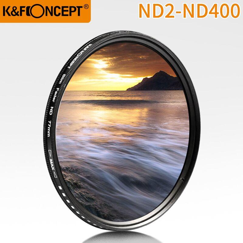 K & F CONCEPT 52 мм 55 мм 58 мм 62 мм 67 мм 72 мм 77 мм Тонкий Фейдер переменный ND фильтр для объектива Регулируемый ND2 до ND400 нейтральная плотность