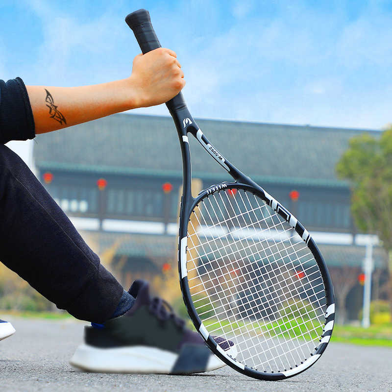 Professional Carbon Fiber Tennis Racket String 58 LBS Racquet Training Rackets Sports Tennis Racquets Tennisracket Bag Men Women