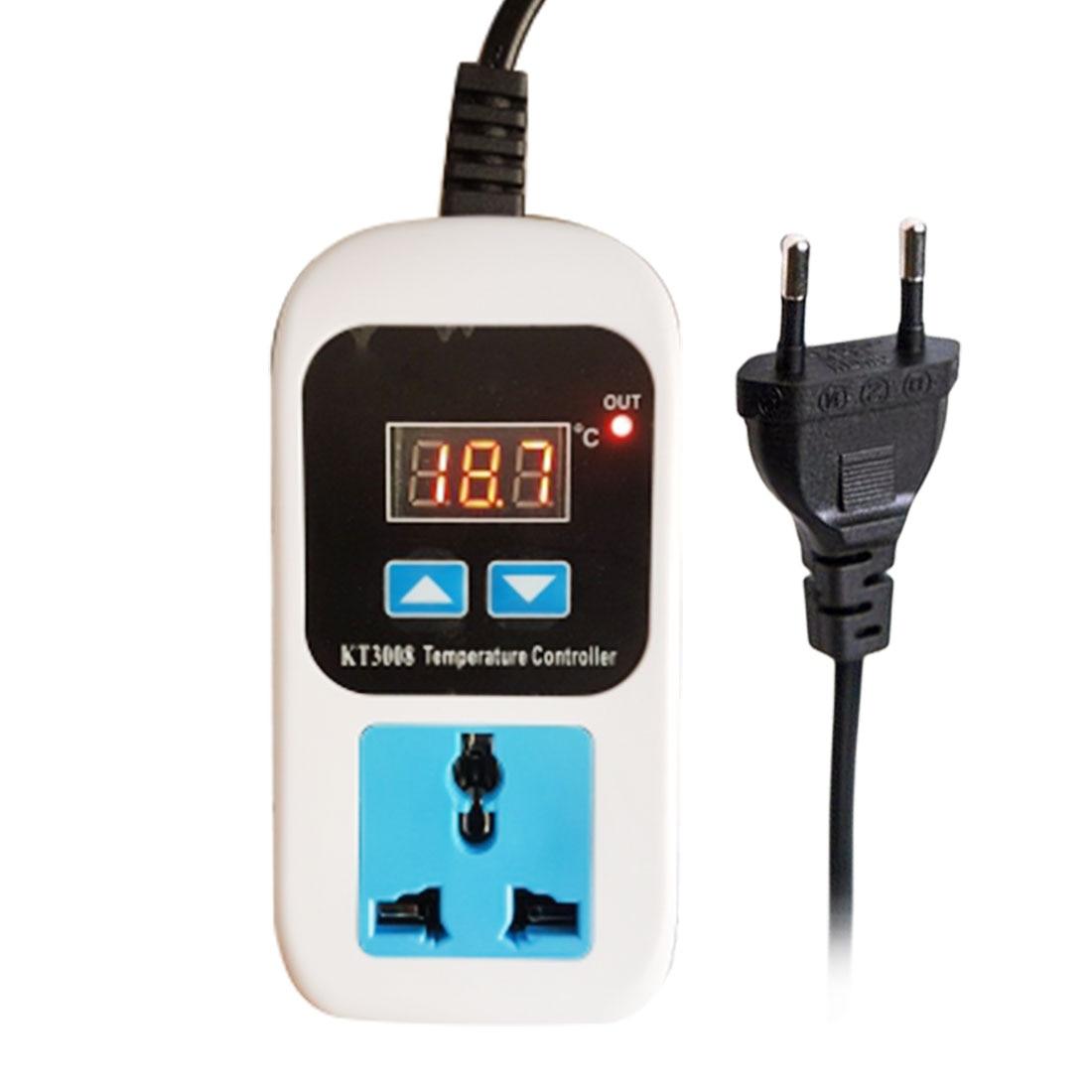 Regulator Temperature Controller Microcomputer Socket Outlet AC110-220V + NTC Sensor KT3008 KT3009A Digital Thermostat EU Plug