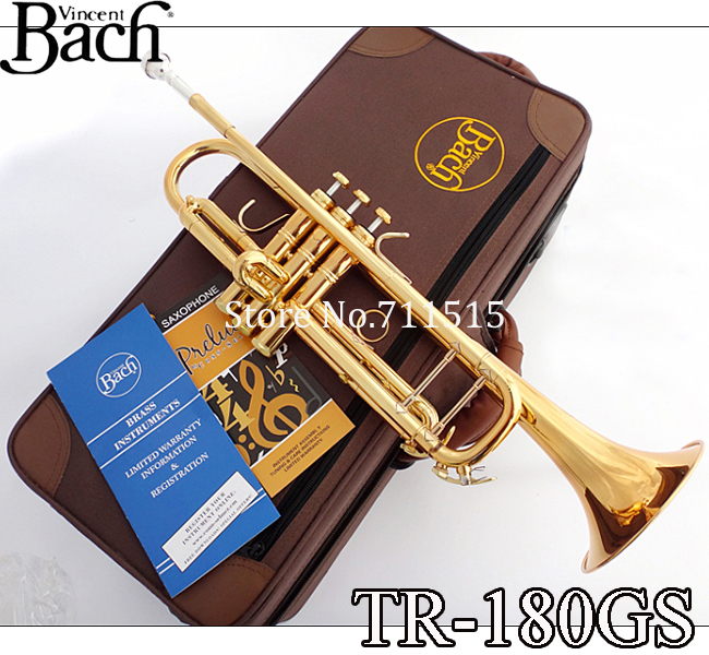 Profissional Vincent Bach Brass Bb Trumpet TR-180GS Bb Gold Lacquer Trumpete Instrumentos Trompeta Case Mouthpiece 7c  brand new bach brass trumpet lt190gs 77 bb silver plated gold key trompeta profissional instrumentos case mouthpiece