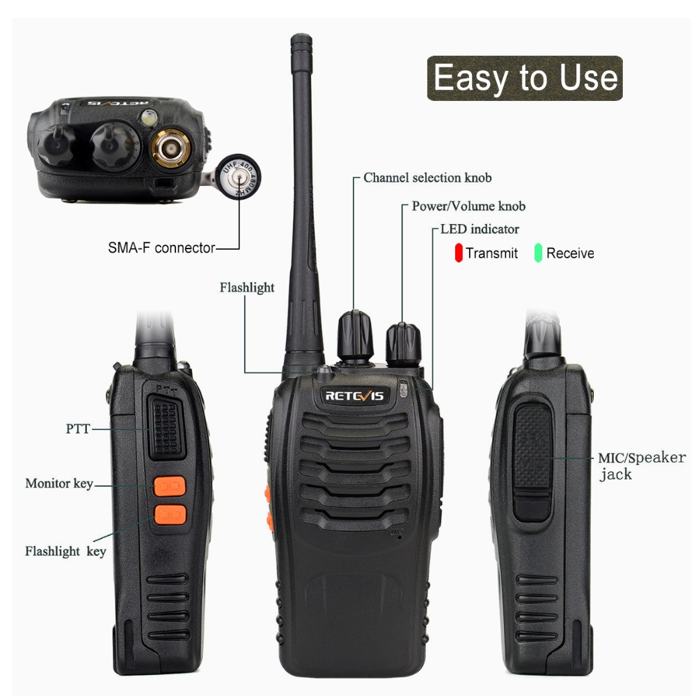 2 st Retevis H777 Portabel Walkie Talkie 16CH UHF 400-470MHz - Walkie talkie - Foto 2
