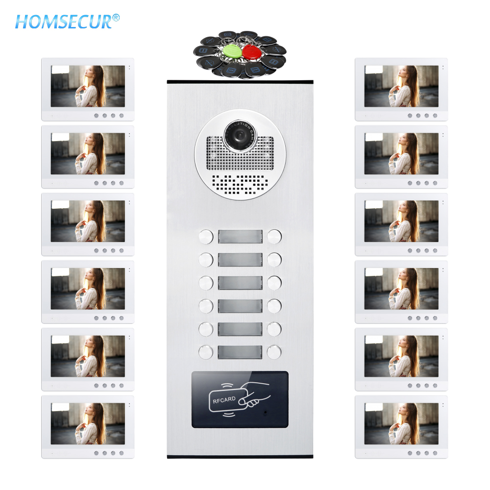 HOMSECUR 10.1 LCD Video Doorbell Security Intercom+One Button Unlock for 12 Families XM101-W + XC111-12HOMSECUR 10.1 LCD Video Doorbell Security Intercom+One Button Unlock for 12 Families XM101-W + XC111-12