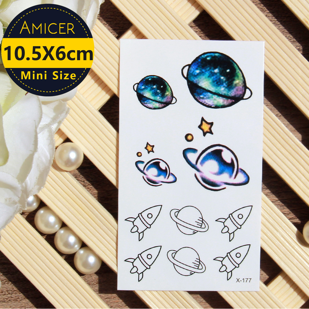 Waterproof Temporary Tattoo sticker on body Cosmic spaceship color tattoo Water Transfer fake tattoo flash tattoo for girl