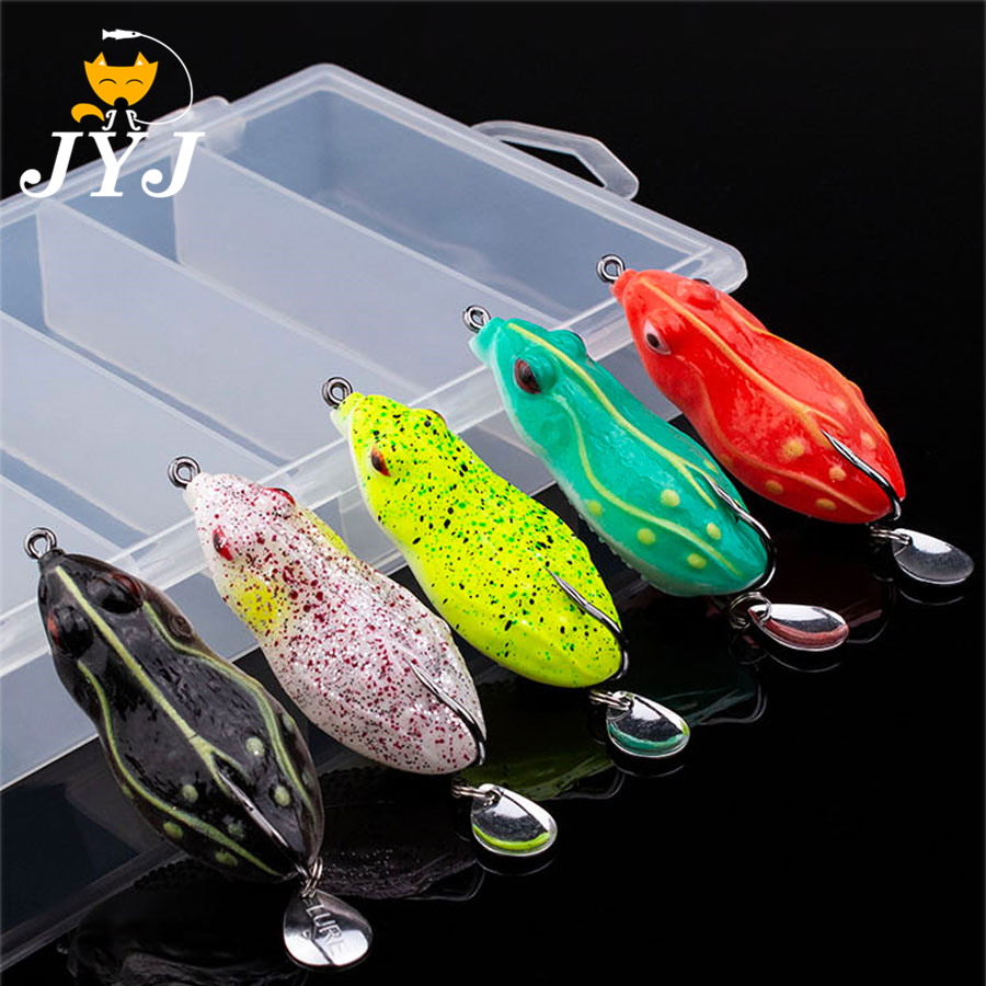 5pcs/box soft tube bait japan plastic fishing lures frog lure spoon hooks Topwater ray frog 6CM 13G artificial soft toad bait