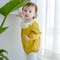 2017 Newborn Baby Girls Clothes Ruffles Collar Long Sleeve Cotton Autumn Girls Jumpsuit Sweet Solid Yellow