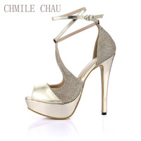 CHMILE CHAU Gold Patent PU Sexy Party Women's Shoes Peep Toe Stiletto Heel Ankle Strap Platform Sandals Zapatos Mujer 3463SL-Q1