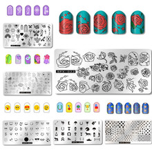 Nail Art Image Manicure Stamping Plate Stencil Tools Rose Flower Emoji Smile Template Stamp Kit Salon Accessories