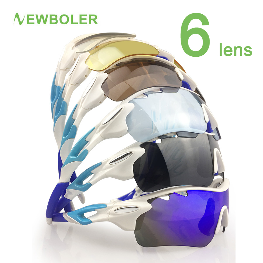 NEWBOLER 6 Lens Cycling Sunglasses Polarized Outdoor Sports Bicycle Bike Sun Glasses PC Goggles Eyewear Bicycle Accessory oreka 8006 black pc full frame pc lens fashion sunglasses grey