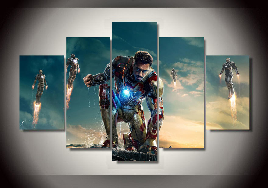 2016 Framed Printed cartoon Movie Iron man 5 piece picture painting ...