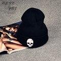 2016 горячий новый трикотажные манжеты череп дэдпул маска хип-хоп мода вязать шапочка реверсивный багги Cap теплые унисекс шляпы для женщин
