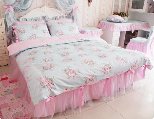 Genial Blue Pink Floral Bedding Sets,Korean Romantic Floral Print Bedding  Sets,Cartoon Bedding,Queen Size,4Pcs In Bedding Sets From Home U0026 Garden On  Aliexpress.com ...