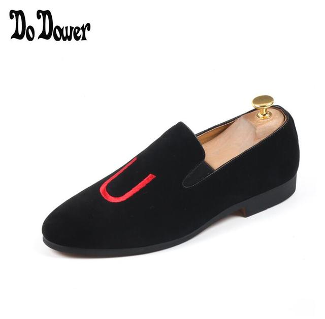 be1194b06c138 Promotion New spring Men Velvet Loafers Party wedding Shoes Europe Style black  Embroidered Velvet Slippers Driving moccasins 915