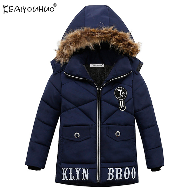Best Offers KEAIYOUHUO 2018 New Boy Winter Down Jackets For Boys Cotton Children Hooded Coats Boys Jacket Clothes Long Sleeve Kids Outerwear