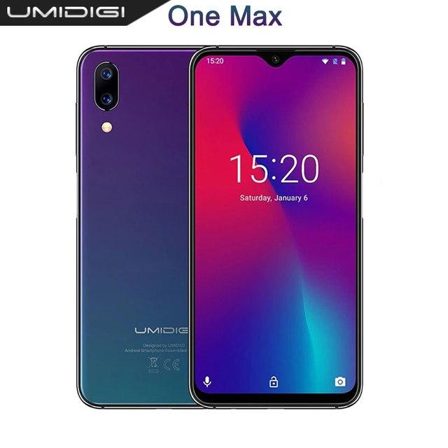 "UMIDIGI One Max Global รุ่น 4GB 128GB 6.3 ""Waterdrop Full Screen 4150mAh Dual SIM Face ID สมาร์ทโฟน NFC Wireless CHARGING"