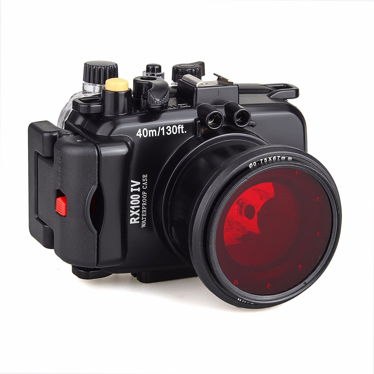 40M/130f Underwater Waterproof Camera Housing Diving Case for Sony DSC RX100 IV + Red Filter 67mm meikon underwater camera housing for sony dsc rx100 iv 40m 130ft red underwater filter wet 67mm aluminum diving handle