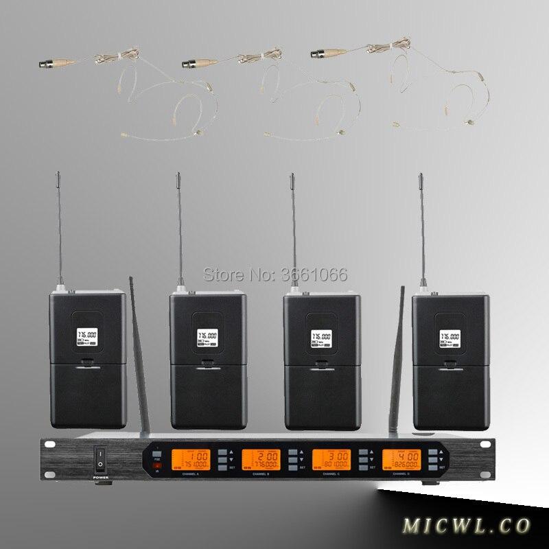 Micwl.Audio D400 4x100 Channel Digital Wireless Microphone System 4 Bodypacks Transmitter with Headphone BeigeMicwl.Audio D400 4x100 Channel Digital Wireless Microphone System 4 Bodypacks Transmitter with Headphone Beige