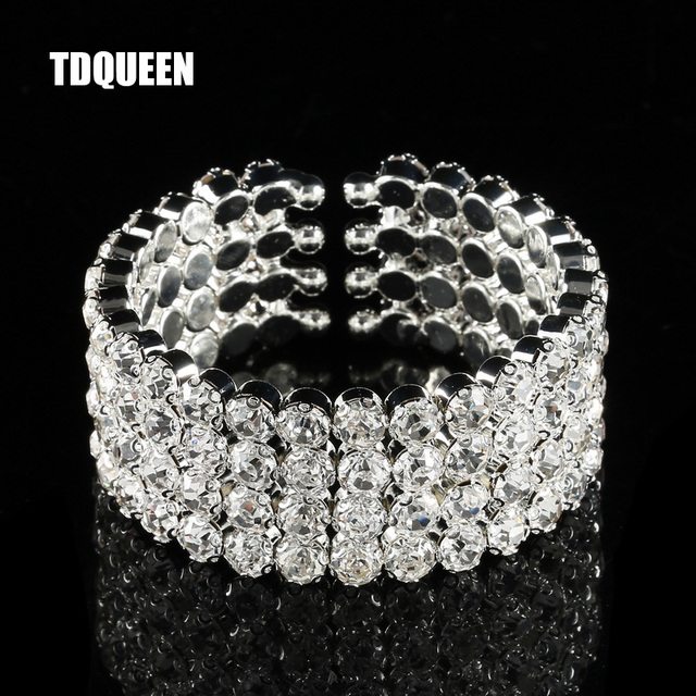 Crystal Cuff Bracelet Silver Plated Women Fashion Jewelry 4 Rows Wide Bangle Luxury Bridal Wedding
