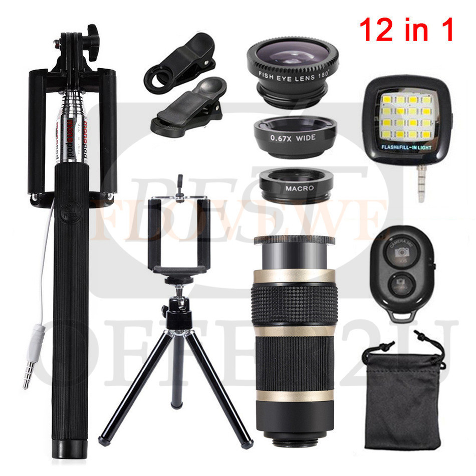 Camera Lens Fish eye Wide Angle Macro Lenses 8x Zoom Telephoto Lentes Tripod Clips Selfie Fill Light 12in1 Kits For Cell Phone