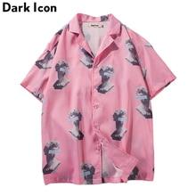 Drehen unten Kragen Voll Gedruckt Rosa Hemd Männer 2018 Sommer Hawaii Stil Kurzarm herren Shirts