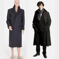 Sherlock Holmes Coat Adult Cosplay Costume Custom Make Black Movie Sherlock Holmes Outfit Dress For Women Men