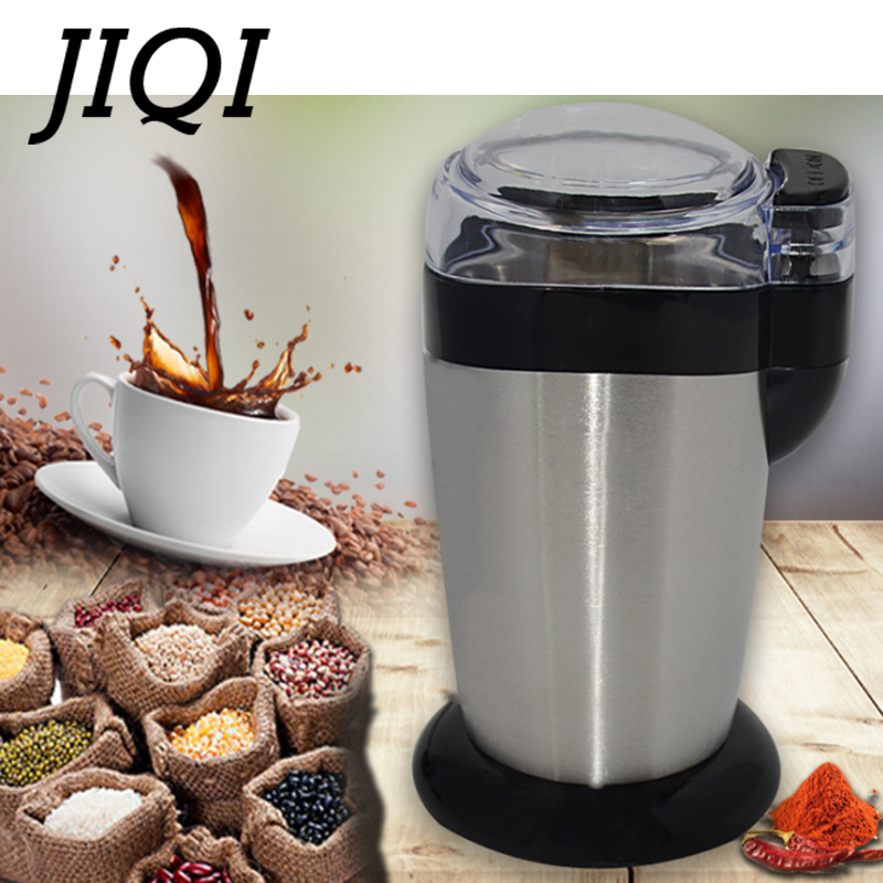 JIQI Multifunction Coffee Grinder Stainless Steel Blade Electric Herbs Beans Mill Spices Nuts Grains Cafe Bean Grinding Machine stainless steel electric coffee spice grinder maker beans herbs nuts cereal grains mill machine home use eu plug