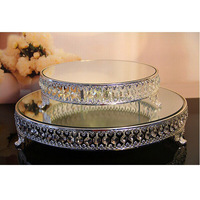 Top Quality Round Shape Silver Plate Metal Acrylic Crystal Strand Glass Mirror Birthday Fruit Cake Stand Wedding Home Decoration