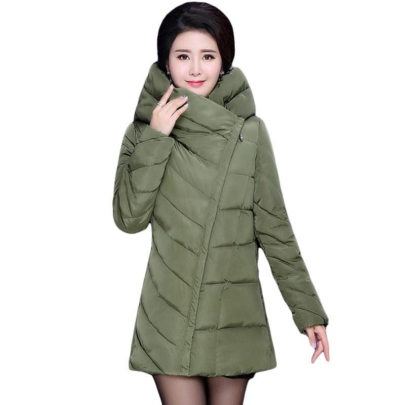 1.5 kg Thicken Women Down Jacket Long Solid Warm Parka Zipper Slim Hooded Female Warm Cotton-padded Coat Lady Winter Coat AA212