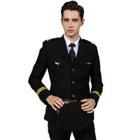 Free Shipping men air force Captain Uniform Jacket and Pant Stage Performance studio Suit Asia size High Quality Plus Size