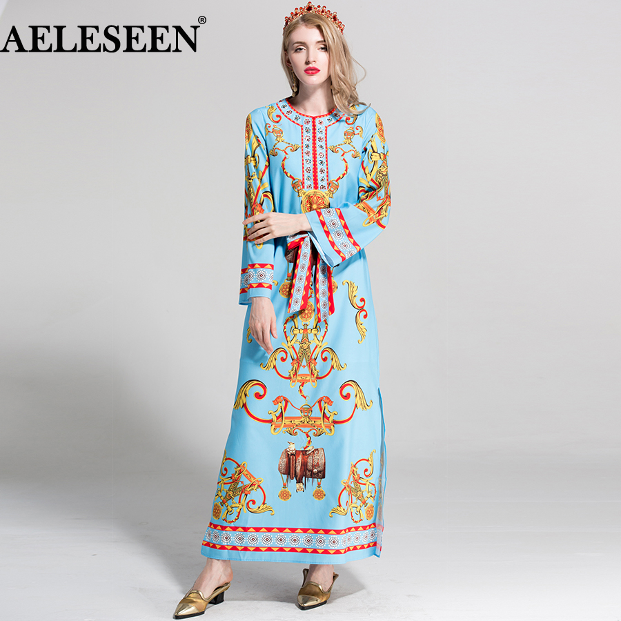 AELESEEN Bohemain XXL Women Summer Dress 2018 Runway Fashion Vintage Belt Ethnic Dresses Floral Print Split Sky Blue Long Dress