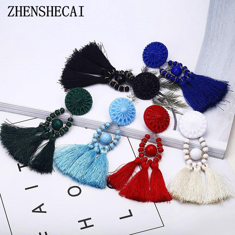 Handmade 6 Colors Long Tassel Earrings Bohemian Black Red Green White Blue Silk Bead Drop Earrings For Women Jewelry E0502