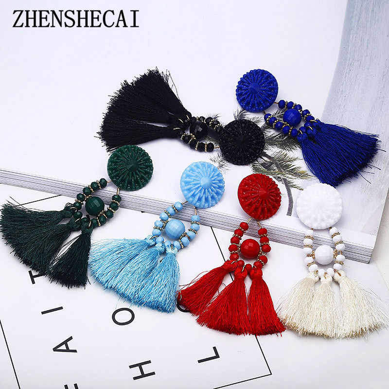 Handmade 6 Colors Long Tassel Earrings Bohemian Black Red Green White Blue Silk bead Drop Earrings For Women Jewelry e0502