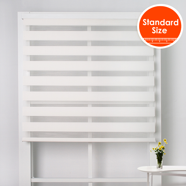 SCHRLING Free Shipping Translucent White Zebra Blinds With Front Valance Double-layer High Quality Horizontal Day Night Blinds