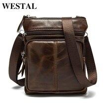 22b1a0c0ab037 WESTAL saco masculino saco de Couro Genuíno Homens Sacos Pequenos sacos  Crossbody Bolsas de Ombro ocasional saco do Mensageiro s.