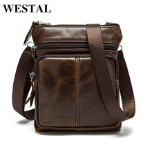 WESTAL Messenger Bag Men's Shoulder Genuine Leather bags Flap Small male man Crossbody bag for men natural Leather bags M701(China)