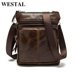WESTAL حقيبة ساعي بريد للرجال حقائب الكتف جلد طبيعي رفرف رجل صغير حقائب كروسبودي للرجال حقيبة جلدية طبيعية M701