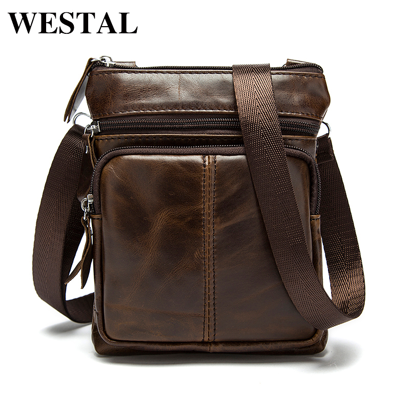 WESTAL Messenger Bag Lelaki Shoulder bag Genuine Leather Small male man crossbody bag for Messenger men Leather bags Handbags M701