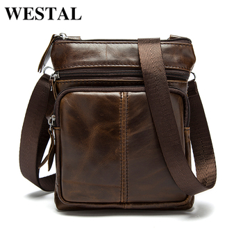 WESTAL Messenger Bag Men's Shoulder Genuine Leather bags Flap Small male man Crossbody bag for men natural Leather bags M701