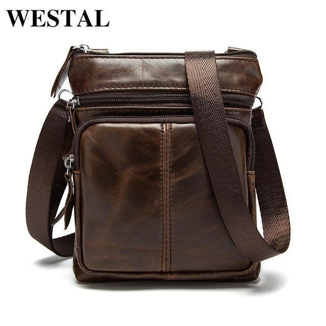 WESTAL saco masculino saco de Couro Genuíno Homens Sacos Pequenos sacos Crossbody Bolsas de Ombro ocasional saco do Mensageiro saco De Homens De Couro Flap M701