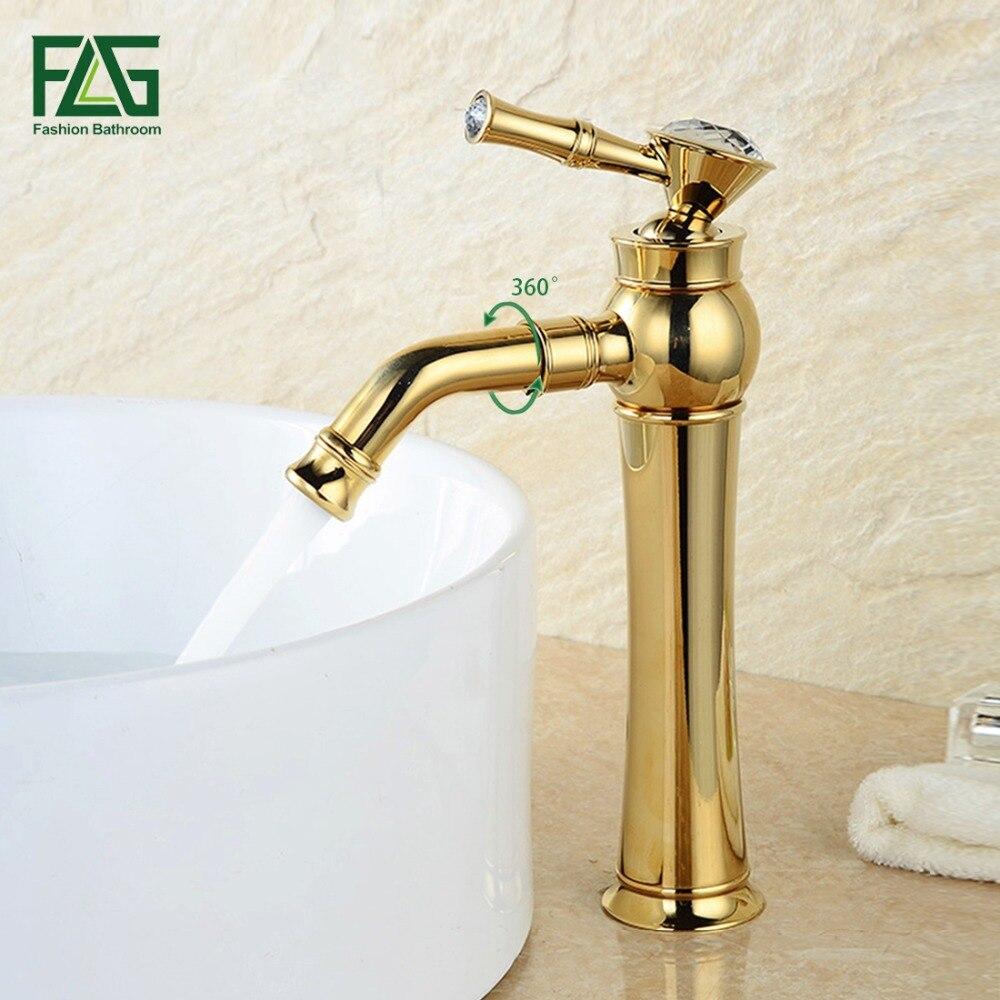 FLG Fashion Style Bath Mat Nobility Gold Deck Mounted 360 Swivel Spout Crystal Faucet Handles Golden Color Mixer Tap Faucet M127 цена