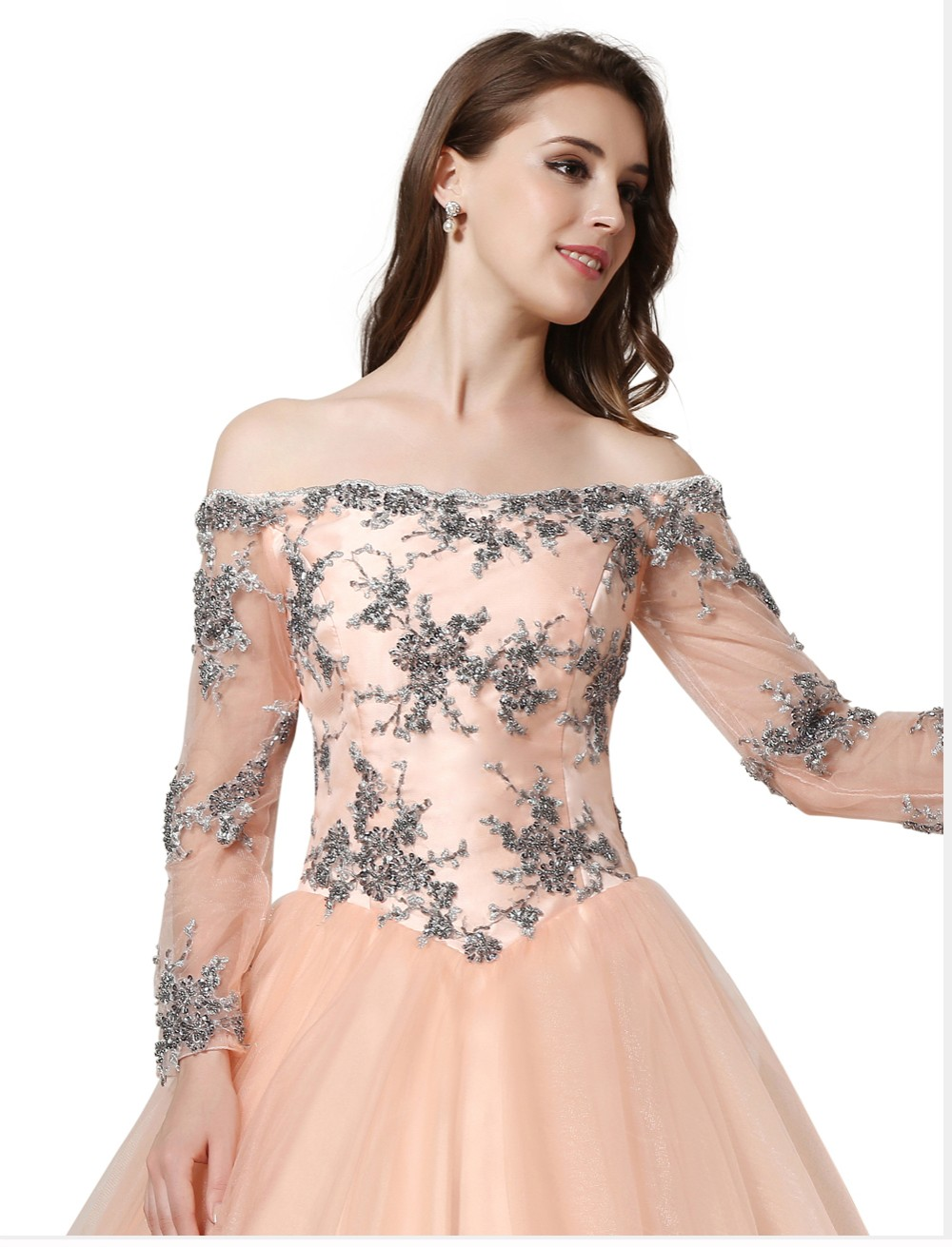 38960d758c164 Prom Dress 2018 SoDigne Vintage Tulle Peach Color Evening Dress Long Sleeve  Off The Shoulder Lace Up Party Gown Appliques Beads-in Prom Dresses from ...