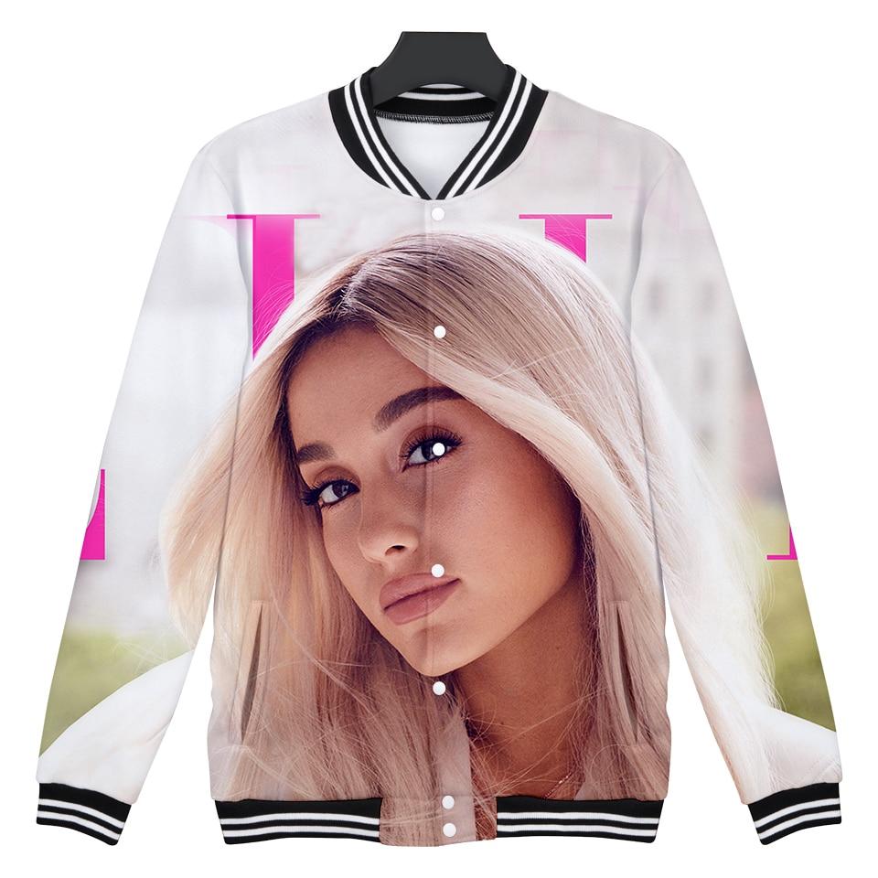 3D Ariana Grande Thank U Next Casual Long Sleeve Baseball Jacket Women Clothes Hip Hop Kpop Harajuku Tops
