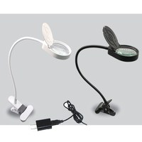 New desk Lamp Magnifier Clip on Table Top Desk LED Lamp Reading 10x 15x Large Lens Magnifying Glass with Clamp