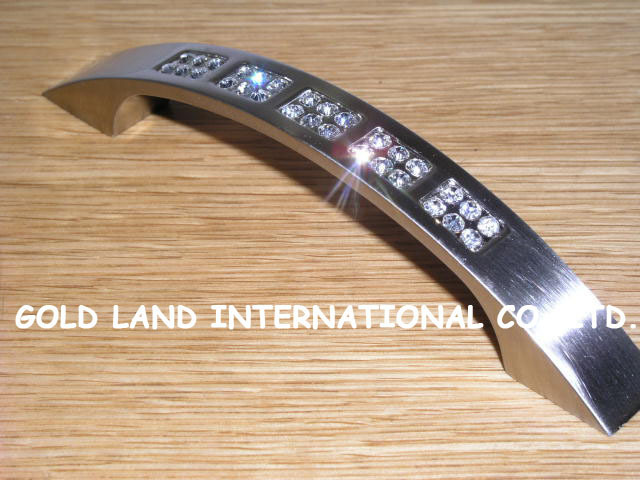 96mm Free shipping K9 crystal glass brushed chrome furniture cabinet handle