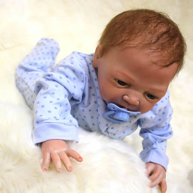 Top quality 18 inch silicone baby doll lifelike reborn babies boy handmade dolls toy with rooted for Best reborn baby dolls
