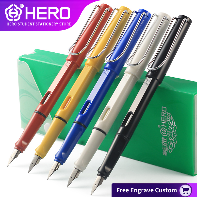 Hero Fountain Pens for school 359 original official authentic 11 color optional student office writing Free Engrave Custom