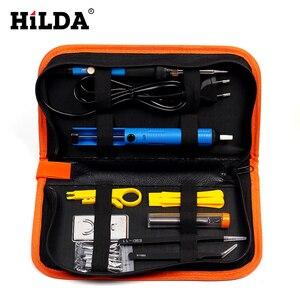 Image 2 - HILDA 220V/110V 60W Elektrische Lötkolben Einstellbare Temperatur Löten Gun Schweißen Rework Tool Kit Für reparatur